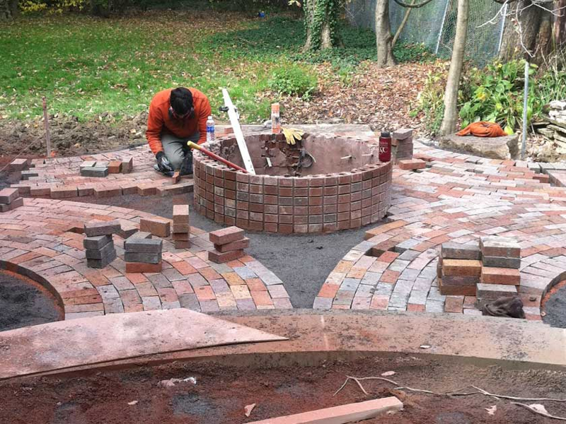 Outdoor living pavilions exscape designs for Brick fire pit construction
