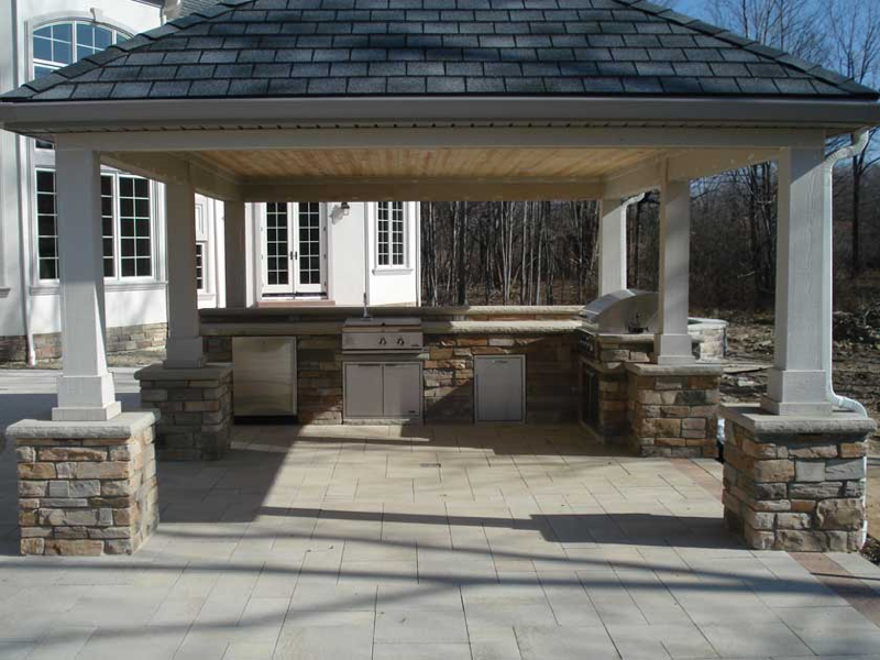 Outdoor living pavilions exscape designs for Outdoor kitchen pavilion designs