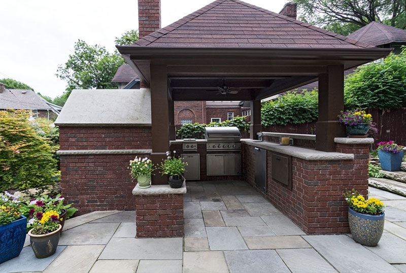 Outdoor kitchen with pavilion cleveland ohio exscape designs for Outdoor kitchen pavilion designs