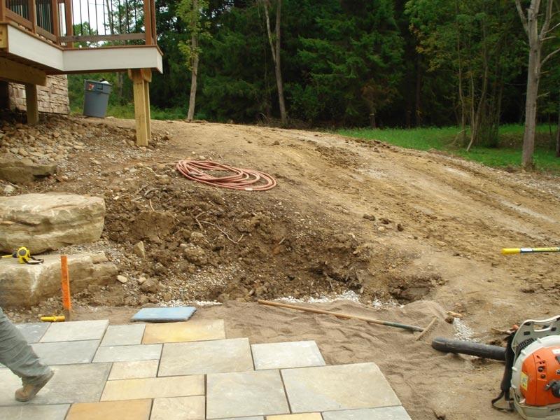 Back Yard Excavation : Patio landscape design designers exscape designs