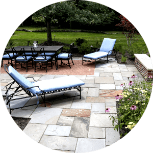 Stone Patio With Furniture