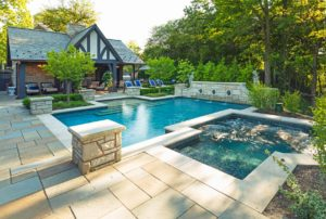 Large pool with beautiful patio