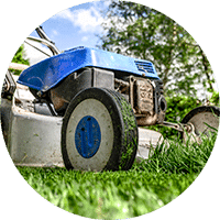 Mowing lawn