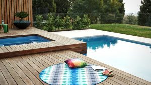 Above Ground Pool with Wood Deck